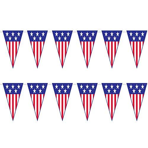 Patriotic Flag Pennant Banner Garland - Spirit of America 12' Long Hanging Decoration (2 Pack)