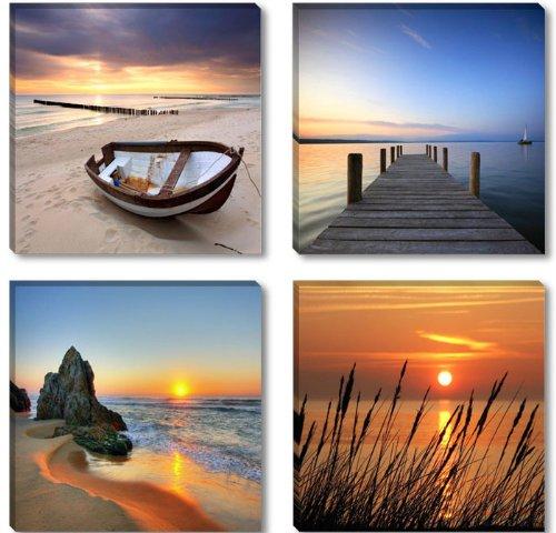 Visario Imagen y diseño los estándares 4 x 30 cm Marca 6608 fotografía sobre Lienzo Kunstdrucke Playa Embarcadero de caña de Cuadro