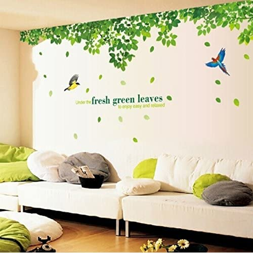 Oren Empower Fresh Green Leaves Wall Stickers (296 cm x 120 cm, Green, Pack of 2)