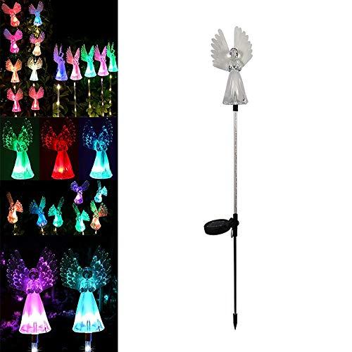 UTDKLPBXAQ 1 pieza de luces de ángel solares decorativas, regalo de jardín para mamá y mujer, luz LED de estaca que cambia de color con energía de fibra óptica para decoraciones de tumbas de jardín
