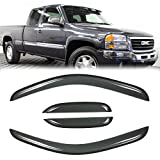 Puermto Original Side Window Wind Deflector, 4pcs Out-Channel Tape-On Rain Guards Set, Vent Visor fit for 2007-2013 Chevy Silverado/GMC Sierra 1500,2007-2014 2500HD/3500HD with Extended Cab 94040
