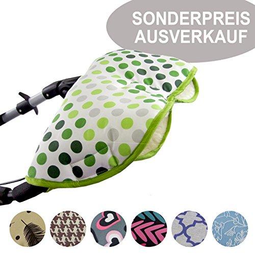 BAMBINIWERLT SPECIALE AANBIEDING universele muff/handwarmer voor kinderwagen, buggy, jogger met wol UITVERKOOP pistache stippen