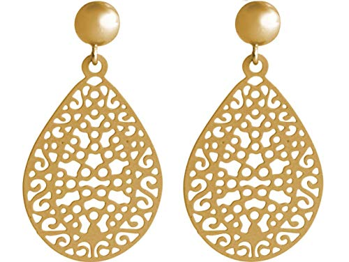 Gemshine Damen Ohrringe Yoga Mandala Kreis 3,5 cm in Silber, hochwertig vergoldet oder rose Ohrhänger - Nachhaltiger, qualitätsvoller Schmuck Made in Spain, Metall Farbe:Silber vergoldet
