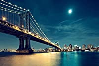 月明かりの下でマンハッタン橋 300枚の木のパズル脳が美しいアクセサリーに挑戦します。