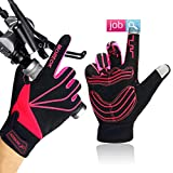 Achiou Cycling Touch Screen Gloves Bicycle Winter Full Finger Mountain Bike Anti-Skid Thick Palm Pad Cold Weather for Men and Women (Rose Red,Medium)