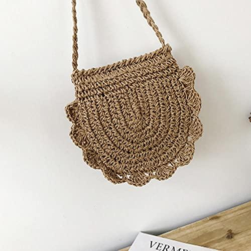 Bolsos de paja Vintage para mujer, popular bolso de verano para mujer, bolso de mensajero de punto de playa hueco para mujer, bandolera de viaje tejida, marrón