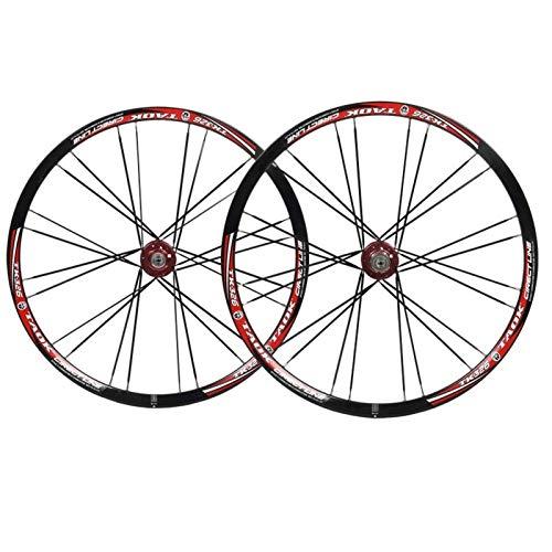 Juego de Ruedas de Bicicleta MTB de 26 Pulgadas, Juego de Ruedas de Bicicleta Delantera + Trasera, Freno de Disco de 6 Clavos, llanta de liberación rápida, buje de rodamiento Recto de 24 Ori