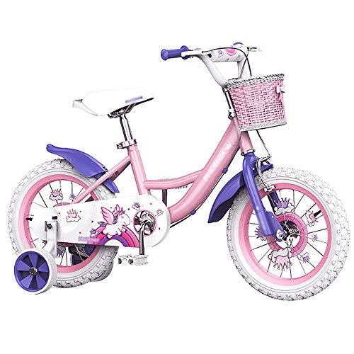 Bicicleta De Niña, Princesa De 12'de 12' Pulgadas De Acero Altas De Carbono con Ruedas De Entrenamiento Frenos De Mano Y Cesta, para Niños De 2 A 6 Años De Edad(Size:12inch)