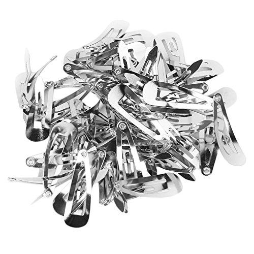 Naisecore Lot de 50 Argent Snap Pinces à cheveux 30 mm Craft Nœud