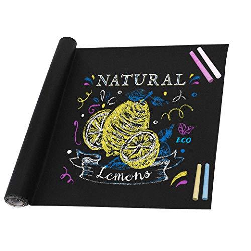 Tafelfolie Selbstklebend Kreidetafel Kinder Blackboard Folie DIY Aufkleber mit 5 Stück Bunte Kreide für Schule Zuhause und Büro 45cm x 200cm