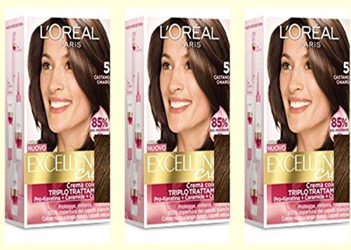 3 X L'OREAL EXCELLENCE CREME 5 CASTANO CHIARO Tintura per capelli