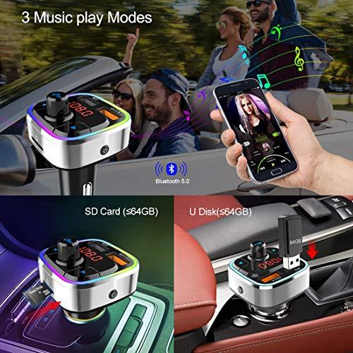 Bluetooth 5.0 Car FM Trasmettitore,Adattatore Audio Radio Auto Wireless Kit Auto Mani libere con QC3.0 & 5V/2.4A USB Car Charger,Retroilluminato Colorata,Supporto Lettore Musicale MP3 TF Card/U Disk