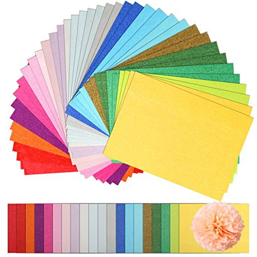 "Naler 200 Sheets Assorted Colors Art Tissue Paper for DIY Crafts Decorative Tissue Paper Flower Pom Pom, 20 Colors, 8""X11"""