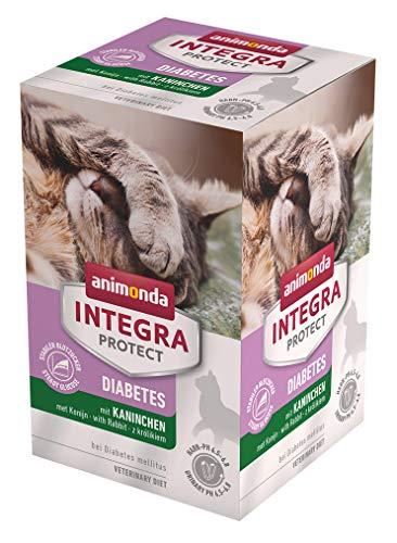 animonda Integra Protect Diabetes Katze, Diät Katzenfutter, Nassfutter bei Diabetes mellitus, mit Kaninchen, 6 x 100 g