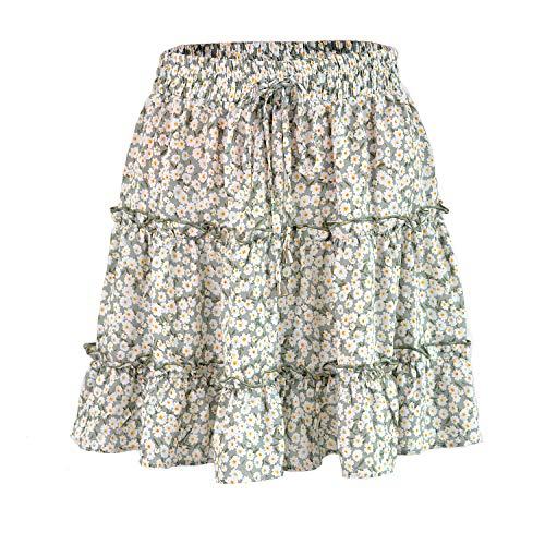 Nobrand Minifalda De Cintura Elástica Plisada con Volantes Y Estampado De Flores Boho De Las Mujeres