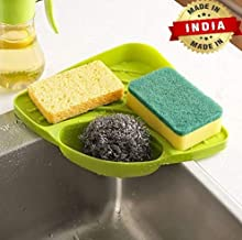 Zollyss Plastic Multipurpose Kitchen Sink Wash Basin Storage Organizer Corner Tray Rack (Multicolor, Standard)