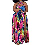 Women Sexy Plus Size Hollow Out Halter Wrap Sleeveless Floral Slit Casual Long Maxi Dress Rose Red 5X