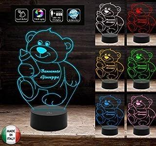 Luce da notte bambini Lampada led 7 colori selezionabili ORSETTO con BIBERON Idea Regalo da tavolo o scrivania Luce nottur...