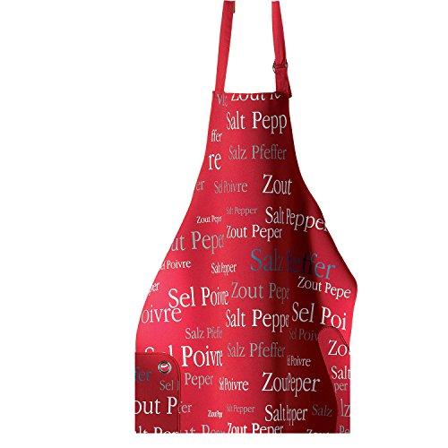 Tablier de cuisine à poche Sel & Poivre – 62×80 cm – Protection en néoprène - Blouse adulte lavable – Sangle ajustable – Rouge