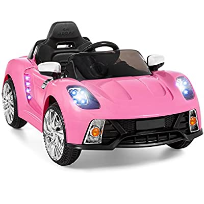 Best Choice Products Kids 12V Electric RC Ride On w/ 2 Speeds, LED Lights, MP3, AUX, Pink by Best Choice Products