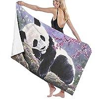 フラワーツリーバスタオルの下で眠るビーチタオルパンダ速乾性スイムシャワー女性毛布ポータブルボートキャンプクロス80x 130 cm