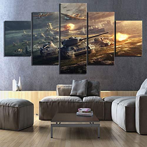 Wohnkultur Leinwand Bilder Wandkunst 5 Panels World Of Tanks Spielmalereien Drucke Modulares Poster für Wohnzimmer(size 2)