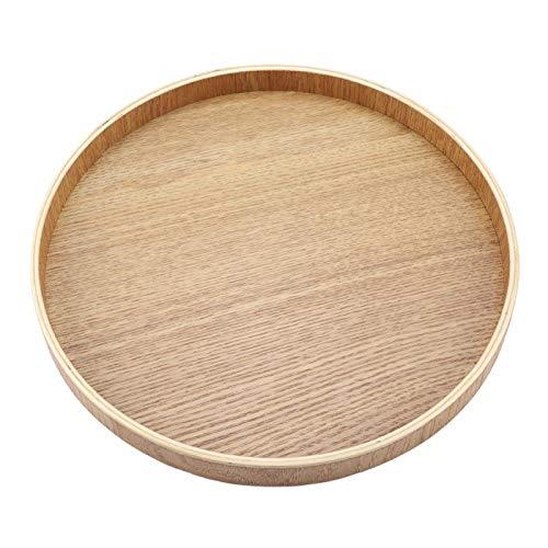 Holz Serviertablett, Rund Couchtisch Tablett Holzteller für Küche Restaurant(XL)
