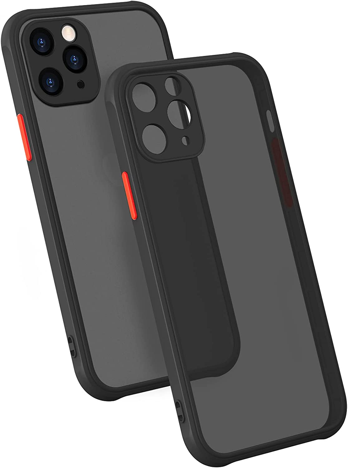 MONGKEYA iPhone 11 Pro Max Case, 6.5 inch, Translucent Matte Hard PC Back with Soft Silicone Edge, Slim Shockproof, Drop Protective Phone case for iPhone 11 Pro Max, Black