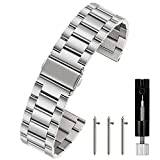 Berfine 18mm Quick Release Watch Strap,Premium Solid Stainless Steel Watch Band Replacement,Silver