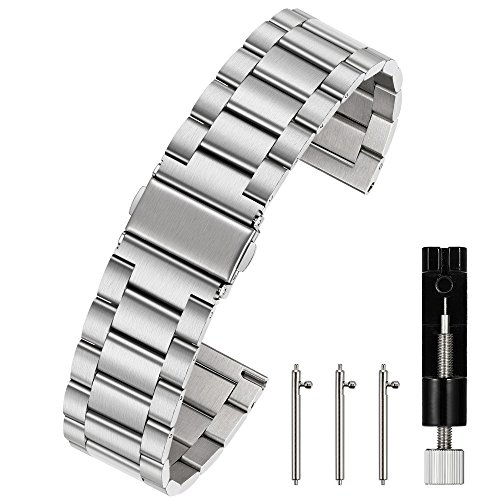 Berfine Unisex Edelstahl Schnellspanner Uhrenarmband 24mm Silber