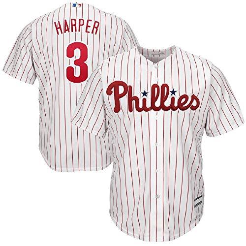 Men's Philadelphia Phillies #3 Bryce Harper White/Scarlet Home Cool Base Player Jersey