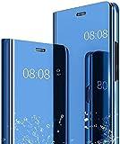 YIKLA Smart Clear View Cover per Xiaomi Redmi Note 10 5G/Poco M3 PRO, Moda Sottile Specchio Tecnologia di Elettroplaccatura, con Supporto Pieghevole Mirror Flip Custodia Cover, Blu