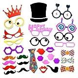 WedDecor 31pz Divertente Colorato Selfie Accessori Scena Fotografica per Addobbi, Plissettatura, Compleanno, Matrimonio, Fumetto Fantasia Festa