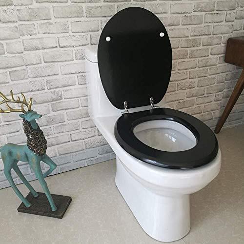 ZPWSNH O-vormige wc-hoes, verstelbaar scharnier Quick Release Verdikte wc-hoes, zwart massief houten paard 40~48x 33~38 cm wc-deksel