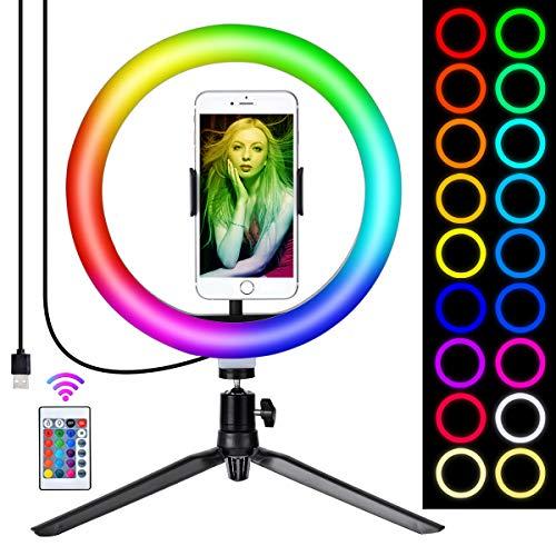 """Queta Luce Anello Ring Light RGB per Tik Tok Youtube Selfie Video Vlog, 10"""" Luce Anello Telocomando Wireless con Treppiedi, 15 Colori + 3 Modalità di Illuminazione, 10 Livelli di Luminosità"""