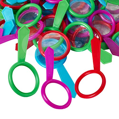 Kicko Mini Magnifying Glasses - 144 Pack - 1 Inch - for Kids, Party Favors, Stocking Stuffers, Classroom Prizes, Decorations, Birthday Supplies, Holidays, Pinata Filler, Novelties and Rewards