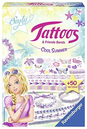 Ravensburger 18320 Tattoos & Friendsbands: Cool Summer - Freche Freundschaftsbänder aus bunten Garnen und Tattoos, DIY für Kinder ab 8 Jahren