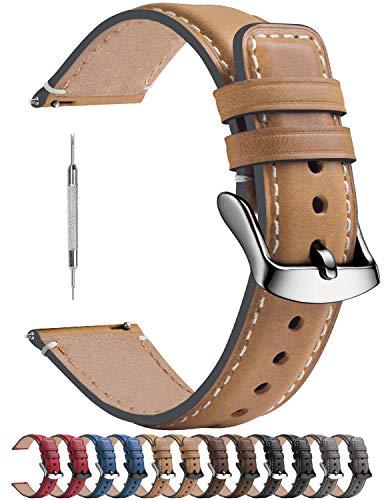 Cinturino in Pelle per Orologio 20mm, Fullmosa Yola Cinturino Comapatibile Con Amazfit Bip/Bip Lite, Amazfit GTS/GTR 42mm, Huawei Watch GT 2 42mm, 20mm Grigio + Hardware Argento