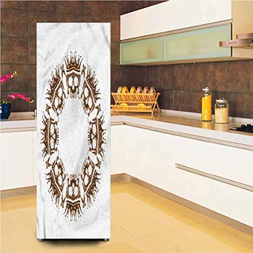 3D Decor Door Fridge Stickers Wall Mural, 23.6x70.8 Inch, Crown Skulls Round Shape Self-Adhesive Door Wallpaper Murals Stickers Full Door Cover for Home Decor