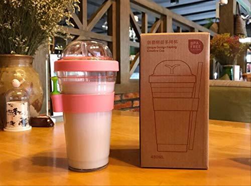 Taza de plástico portátil reutilizable taza de café de plástico a prueba de fugas taza de taza deportiva con paja 480ml