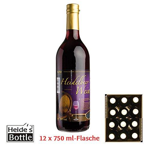 Heidelbeer-Wein - 9,5% Alc, 12 x 750ml-Flasche - pfandfrei -