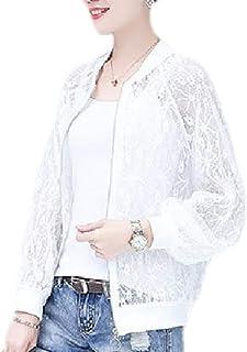 Women's Summer Lace Mesh See Through Zip Up Long Sleeve Bomber Short Jacket