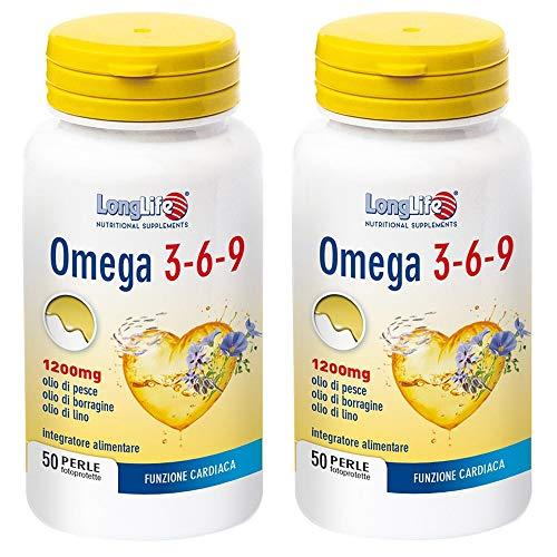 2x Long Life - Omega 3-6-9 1200 mg - 50 perle da 1,600 g | Colesterolo e Trigliceridi | Pacchetto da 2 confezione da Perle