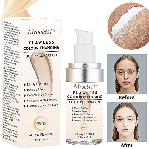 Fondation liquide, liquid foundation, Fond de teint changeant de couleur, Base de maquillage Nude -...