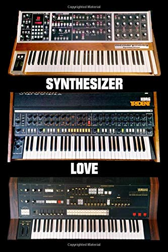 """Vintage Synthesizer Notebook \""""Synthesizer Love\"""" Journal Composition for Synth Lovers 6 x 9 inches - 120 blank page - Trident Memorymoog CS-70m"""