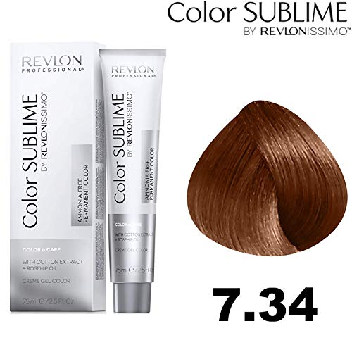 Revlon Professional Color Sublime By Revlonissimo Color&Care Ammonia Free Permanent Color 7.34, Kupfer Gold Blond, 1er Pack(1 x 60 ml)