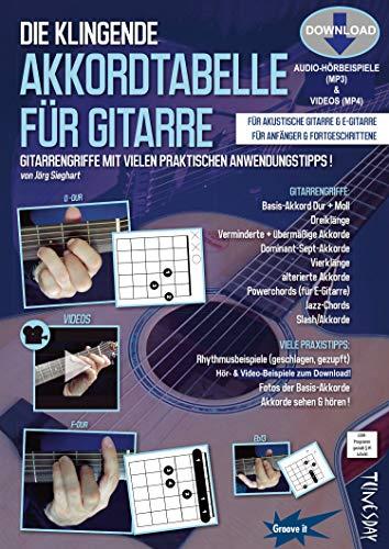 Die klingende Akkordtabelle für Gitarre (mit Audio/Video-Download) - Gitarrengriffe lernen, sehen und hören - Grifftabelle: Diagramme + Fotos + Anwendungs-Beispiele - 80 Audio-Tracks + 16 Videos