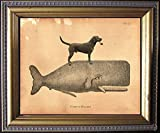 Black Labrador Retriever Black Lab Dog Riding Whale Vintage Collage Semi-Matte Photo Print Tea Stained Background dog art dog gift for dog mom gift for her dog novelty gift wall decor art print
