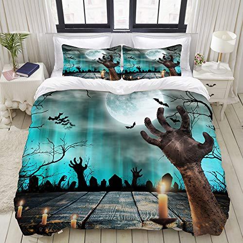 Popsastaresa Bedding Juego de Funda de Edredón,Apocalipsis Azul Spooky Halloween Viejos árboles Siluetas y Zombie Mano Naranja,Funda de Nórdico y 2 Fundas de Almohada King