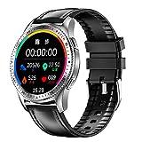 QFSLR Smartwatch, Reloj Inteligente con Llamada Bluetooth Monitor De Frecuencia Cardíaca Monitor De Presión Arterial Monitoreo De Oxígeno En Sangre con iOS Android,Black g